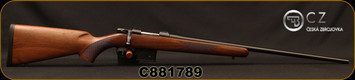 "CZ - 6.5Grendel - Model 527 American - Bolt Action Rifle - American Style Turkish Walnut Stock/Blued, 24"" Barrel, 5 Round Detachable Magazine, No Sights Integrated 16mm Scope Base, Mfg# 5274-0857-MFAKAB5, S/N C881789"