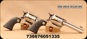 """Ruger - 357Mag - Vaquero SASS Set - Single Action Revolver - Black Checkered Grips/High-Gloss Stainless, 4 5/8""""Barrel, Blade Front sight, Mfg# 05133"""
