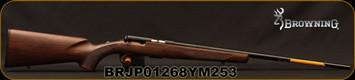 "Browning - 17HMR - T-Bolt Sporter - Straight-Pull Bolt Action - Satin Finish Grade I Black Walnut Stock/Polished Blued, 22""Barrel, Double Helix Magazine, Mfg# 025175270, S/N BRJP01268YM253"