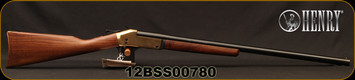 "Henry - 12Ga/3.5""/28"" - Single Shot Break Action Shotgun - Walnut Stock/Brass Receiver/Blued Finish, Brass Bead Front Sight, Mfg# H015B-12, S/N 12BSS00780"