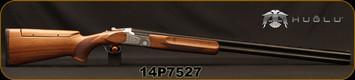 "Huglu - 12Ga/3""/32"" - 101BE Trap - O/U - Ejectors - Turkish Walnut Stock w/Adjustable Comb/Hand Engraved Silver Receiver/Chrome-Lined Barrels, 5 pc. Mobile Choke, Green Fiber Optic Front Sight, SKU# 8682109402804, S/N 14P7527"