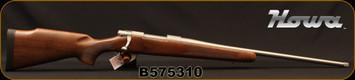 "Howa - 6.5Creedmoor - M1500 Walnut Hunter - Bolt Action Rifle - Monte Carlo Walnut Stock/Stainless Steel Finish, 22""Threaded Barrel, 4rd Hinged Floorplate, Mfg# HWH65CTS, S/N B575310"