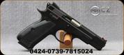 "CZ - 9mm - 75 SP-01 Shadow Line - Semi-Auto Pistol - Aluminum Grips/Black Polycoat, 4.6"" Barrel, (2)10rd magazines, Mfg# 0424-0739-7815024"
