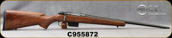 "Used - CZ - 204Ruger - Model 527 American - Turkish Walnut, American-Style/Blued, 21.9""Barrel, 1:12"", single set trigger, 1""CZ Rings, Mfg# 03024 - Very low rounds - In original box"