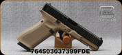 "Glock - 9mm - G17 Gen 5 - Semi Auto Pistol - FDE Finish, 4.49"" Barrel - Fixed Sights - 10rd - Mfg# UA175S201FDE"
