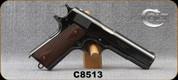 """Consign - Colt - 45Colt - Model 1911 - Checkered Wood Grip Panels/Blued, 5""""Barrel, c/w original holster - 1 of 5000 - Letter from Colt"""