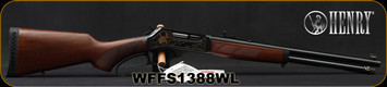 """Henry - 45-70Govt - Wildlife Edition - Lever Action Rifle - Walnut Stock/Engraved Blued Steel Receiver w/Gold Inlay/Blued Finish, 18.43""""Barrel, 4 Round Capacity, Mfg# H010WL, S/N WFFS1388WL"""
