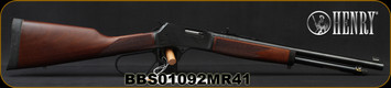 "Henry - 41Magnum - Big Boy Steel Carbine - Large Loop Lever Action Rifle -American Walnut Stock/Blued, 16.5"" Round Barrel, 7 Round Capacity, Steel Receiver, Mfg# H012MR41, S/N BBS01092MR41"