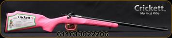 "Crickett - 22LR - Gen 2 - Single Shot Bolt Action Rifle - Pink Finish Synthetic Stock/Blued, 16.125""Barrel, Iron Sights  Mfg# KSA2220"