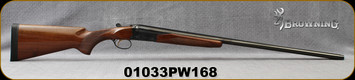 """Used - Browning - 20Ga/3""""/28"""" - BSS - SxS Shotgun - Walnut Stock/Engraved Receiver/Blued Barrels, Gold-Plated Trigger, Ejectors, Full & Mod. Chokes"""