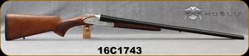 "Huglu - 12Ga/3""/28"" - 200AC Sunken Rib - SxS Single Trigger - Extractors - Turkish Walnut/Silver w/gold inlay birds/Chrome-Lined Barrels, Fixed Choke, Sku: 8681715391915, S/N 16C1743"