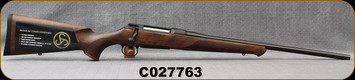 """Sauer - 6.5x55SE - Model 100 Classic - Bolt Action Rifle - Dark-Stain Beechwood ERGO MAX Stock/Blued, 22""""Cold Hammer Forged Barrel, Adjustable single-stage trigger, 1:866""""Twist, Mfg# S1W655, S/N C027763"""