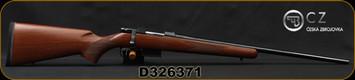"CZ - 22Hornet - 527 American - Turkish Walnut, American-Style Stock/Blued, 21.9""Barrel, Single Set Trigger, 5rd magazine, Integrated 16mm Scope Bases, Mfg# 5274-0205-UAAKAB5, S/N D326371"