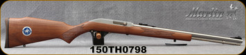 "Marlin - 22LR - Model 60SS Marlin 150th Anniversary Edition - Semi-Auto - Monte Carlo Walnut stock w/inlaid 150th Anniversary Medallion/Stainless, 19""barrel w/micro-groove rifling, Mfg# 70646, S/N 150TH0798"