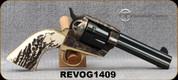 """Taylor's & Co - 45Colt - 1873 Single Action Stag - SA Revolver - Stag Grips/Case Hardened Frame/Blued, 4.75""""Barrel, Mfg# REVOG1409"""