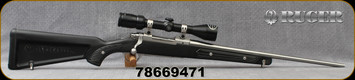"Used - Ruger - 7.62x39 - M77 Mark II 'Canoe Paddle' - Bolt Action Rifle - Black Synthetic 'Canoe Paddle' Stock/Satin Stainless, 20""Barrel, c/w Bushnell 3-9x40mm, Plex Reticle"