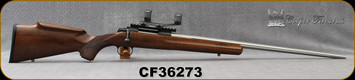 "Used - Cooper - 20VT - Model 21 Jackson Varminter - Bolt Action - AA Claro Walnut/Blued Action/Stainless, 24""Sporter Barrel, Warne Scope Mount, c/w 200pcs brass, die set - in snow camo soft case"