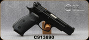 "Used - CZ - 9mm - 75 B Omega - DA/SA Semi-Auto - Rubberized Plastic Grips/Black Polycoat, 4.61""Hammer Forged Barrel, (2)10rd Magazines, Fixed Sights - In original case"