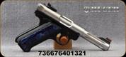 "Ruger - 22LR - Mark IV Raffir Hunter - Semi-Auto Pistol - Raffir Grip Panels/Stainless, 4.5""Fluted Barrel, Mfg# 40132"