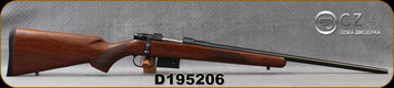 "CZ - 223Rem - Model 527 American - Bolt Action Rifle - American Style Turkish Walnut Stock/Blued, 21.875""Barrel, 5 Round Detachable Magazine, Integrated 16mm Scope Base, Mfg# 5274-6405-UAAKAB5, S/N D195206"