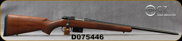 "CZ - 223Rem - Model 527 American - Bolt Action Rifle - American Style Turkish Walnut Stock/Blued, 21.875""Barrel, 5 Round Detachable Magazine, Integrated 16mm Scope Base, Mfg# 5274-6405-UAAKAB5, S/N D075446"