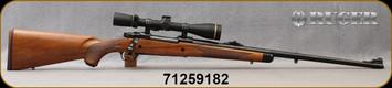 "Used - Ruger - 280AI - M77 Hawkeye African - American Walnut w/Ebony Forend Cap/Satin Blued, 24"", Shallow ""express-style"" windage-adjustable ""V"" notch rear sight, large white bead front sight, Mfg# 57126, c/w Leupold VX-3HD, 4.5-14x40, Duplex, CDS"