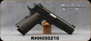 "Consign - Remington - 45ACP - 1911 R1 Enhanced - Semi-Auto - Checkered Black Laminate Grips/Blued, 5""Barrel, front/rear slide serrations, skeletonized trigger, bobbed hammer, FO front sight, (2)magazines - only 50 rounds fired - in Plano Gun Guard ca"