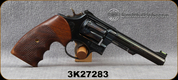 "Consign - Smith & Wesson - 22LR - Model 17-3 - 6-round Revolver - Walnut Grips/Blued, 5""Barrel, Fiber Optic Front Sight, Factory & Aftermarket Grips, Manufactured in 1965 - In Brown Pistol Rug"