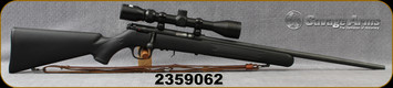 """Consign - Savage - 22WMR - Model 93 - Black Synthetic Stock/Blued, 21""""Barrel, NO MAGAZINE, c/w Bushnell 3-9x40mm, Plex reticle, leather sling"""