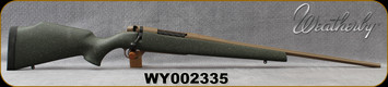 """Used - Weatherby - 6.5Creedmoor -  Mark V Weathermark LT - Green w/FDE Speckle Monte Carlo Stock/FDE Cerakote, 22""""#2Contour Barrel (24""""w/Accubrake ST), Mfg# MWL01N65CMR4B - Hole drilled in bottom of forend for Bipod rail - in original box"""
