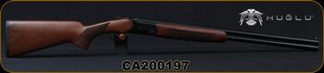 "Huglu - 20Ga/3""/26"" - Hawk - O/U - Turkish Walnut/Black receiver w/Hand-Engraving/Chrome-Lined Barrels, Extractor, 5pc.Mobile Choke, SKU# 8681715390710, S/N CA200197"