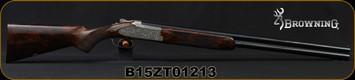 "Browning - 12Ga/3""/28"" - B15 Beauchamp - Grade C - O/U - Grade C Walnut Stock/Engraved Receiver/Blued Barrels, Invector DS Flush Chokes, c/w John M. Browning Signature Crazy Horse Leather Case Mfg# 0140803004, S/N B15ZT01213"