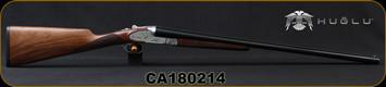 "Huglu - 12Ga/3""/28"" - 200AC - SxS - Turkish Walnut English Stock/Silver Receiver w/Hand Engraved Gold inlay/Blued Barrel, SKU# 8681715393445, S/N CA180214"