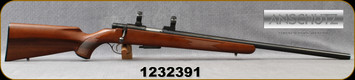 "Consign - Anschutz - 22Hornet - Model 1432 - Bolt Action Rifle - Walnut Stock/Blued, 23.5""Barrel, 1""Rings"
