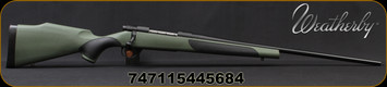 "Weatherby - 300WbyMag - Vanguard Synthetic Green - Bolt Action Rifle - Greeen Monte Carlo Griptonite Synthetic Stock w/Black Touch Panels/Matte Blued Finish, 26""Barrel #2 Contour, 3 Round Hinged Floorplate, Mfg# VGY300WR6O"