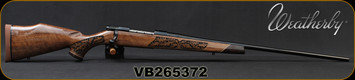 "Weatherby - 300WinMag - Vanguard Lazerguard - AA-grade Claro Walnut, Lazer engraved w/traditional oak leaf pattern/Blued, 26""Barrel, #2 Contour, Adjustable Match Quality, Two-stage Trigger, 1:10"", Mfg# VGZ300NR6O, S/N VB265372"