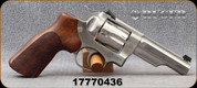"""Used - Ruger - 357Mag/38Spl - GP100 Match Champion - Double Action Revolver - Hogue stippled hardwood Grips/Stainless, heavy half lug, 4.2""""Barrel - In original case"""