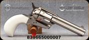 "Taylor's & Co - Uberti - 357Mag - 1873 Birdshead Cattleman - Single-Action Revolver - Ivory Grips/Nickel finish, 4.75""Barrel, Fixed Front Blade, Rear Frame Notch sights, Mfg# 0473N00G38"