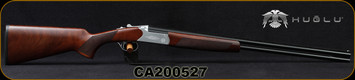 "Huglu - 410Ga/3""/26"" - Hawk - O/U - Extractors - Turkish Walnut/Hand-Engraved Silver Receiver/Chrome-Lined Barrels, 8mm Vent Rib, Fixed Chokes (F,M), SKU: 8682109401272, S/N CA200527"