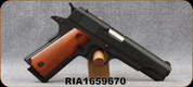 """Consign - Rock Island Armory - 45ACP - Model 1911 Standard GI - Semi Automatic Pistol - Smooth Wood Grips/Parkerized Finish, 5"""" Barrel, 8 Round Capacity, Mfg# 51421 - Only 200 rounds fired - In orignal case"""