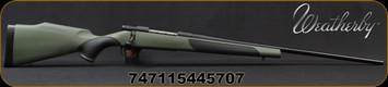 """Weatherby - 308Win - Vanguard Synthetic Green - Bolt Action Rifle - Green Monte Carlo Griptonite Synthetic Stock w/Black Touch Panels/Matte Blued Finish, 24""""Barrel #2 Contour, 5 Round Hinged Floorplate, Mfg# VGY308NR4O"""