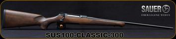 "Sauer - 300 Win Mag - Model 100 Classic - Bolt Action Rifle - Dark-Stain Beechwood ERGO MAX Stock/Blued, 24.5""Cold Hammer Forged Barrel, Adjustable single-stage trigger, 1:11""Twist"