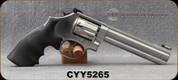 "Used - Smith&Wesson - 22LR - Model 617-6 - Black Rubber Hogue Monogrip/Stainless, 6""Barrel - 10rd - Mfg# 160578, c/w original grips, Hi-Viz sight, leather holster - in original case"