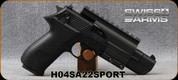 """Swiss Arms - 22LR - SA-22 Sport Pistol - Semi-Auto - Black Polymer/Black Finish, 5""""Barrel, c/w Tactical Rail, Mfg# H04SA22SPORT"""