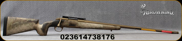 """Browning - 30Nosler - X-Bolt Hell's Canyon Long Range McMillan - Bolt Action Rifle - A-TACS AU Camo Premium McMillan Game Scout stock/Cerakote Burnt Bronze finish, 26""""Fluted Barrel, 3 round detachable magazine, Mfg# 035395295"""