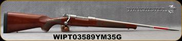 "Winchester - 7mm-08Rem - Model 70 Featherweight Stainless Dark Maple - Gloss finish AAAA Dark Maple stock/Matte Stainless, 22""Barrel, 5 round Hinged Floorplate, Mfg# 535236218, S/N WIPT03589YM35G"