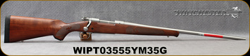 "Winchester - 270WSM - Model 70 Featherweight Stainless - Satin finish Grade I walnut stock/Matte Stainless, 24""Barrel, 3 round Hinged Floorplate, Mfg# 535234264, S/N WIPT03555YM35G"
