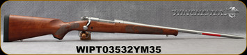 "Winchester - 270WSM - Model 70 Featherweight Stainless - Satin finish Grade I walnut stock/Matte Stainless, 24""Barrel, 3 round Hinged Floorplate, Mfg# 535234264, S/N WIPT03532YM35G"