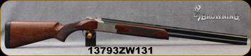 "Consign - Browning - 12Ga/3""/28"" - Citori 725 Field - Over/Under Shotgun - Checkered Grade III Black Walnut Stock/Engraved Nickel Receiver/Polished Blued, Vent Rib Barrel, Invector DS Flush Fit Chokes, Mfg# 0135303004 - In original box"