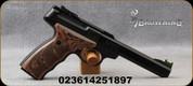 """Browning - 22LR - Buck Mark Plus UDX - Brown Laminate Grips w/Finger-Grooves/Matte Black, 5.5""""Slab-Side Barrel, Truglo Fiber Optic front sight - Mfg# 051428490"""